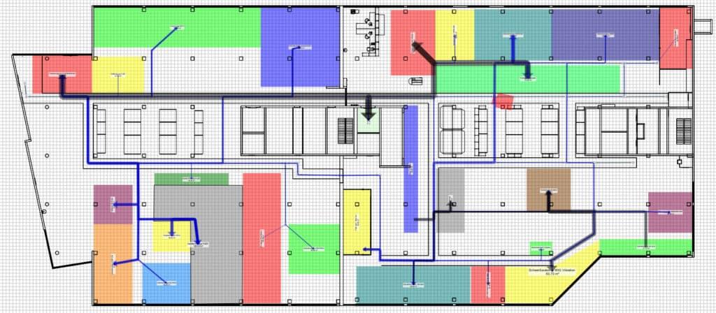 Materialfluss Visualisierung für die Produktionsplanung im 2D-Layout bei VEGA Grieshaber mit visTABLE®touch