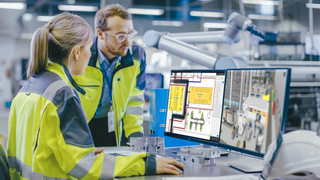 Mitarbeiter Shopfloor nutzen gemeinsames Fabrikmodell als Basis für Wissensmanagement