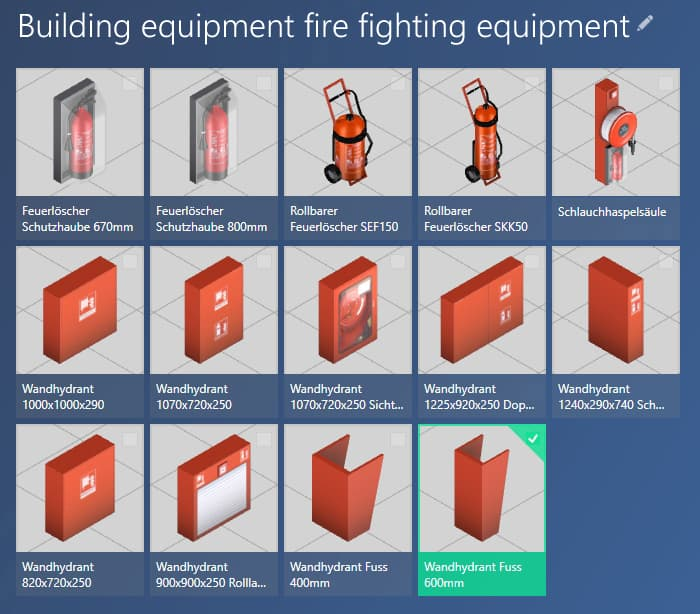 Catalog Building Equipment Fire Extinguishing Systems in the ObjectManager of the software visTABLE®touch