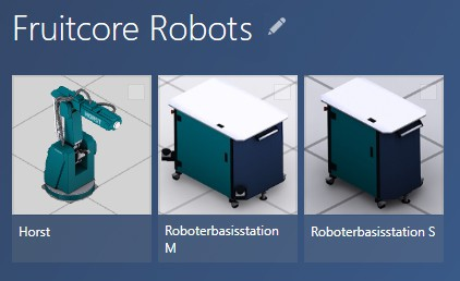 Fruitcore robots catalog model library extension in visTABLE®touch 3.0