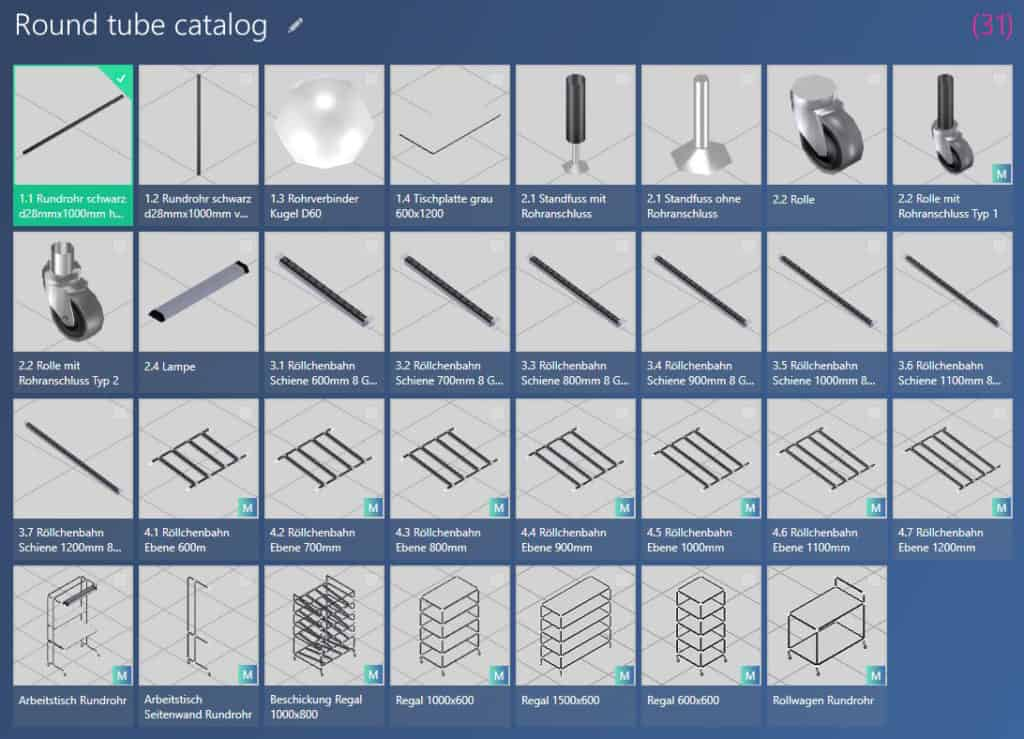 modular round tube catalog in the ObjectManager of the software visTABLE®touch