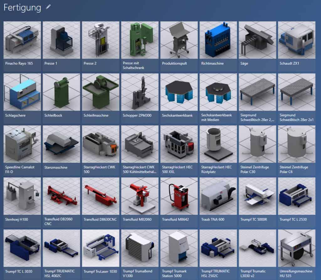 Beispiel für 3D Modellbibliothek Fertigung in der Software visTABLE®touch