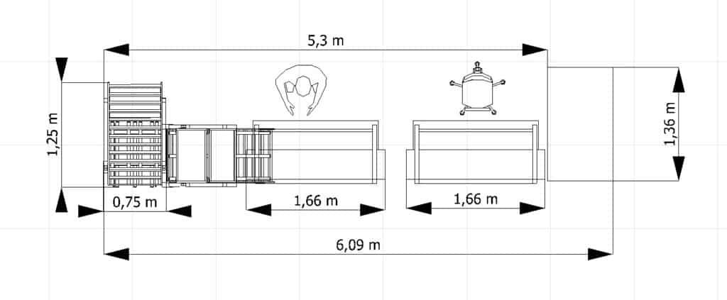 2D-Layout einer Montagelinie mit Vermaßung in visTABLE®touch