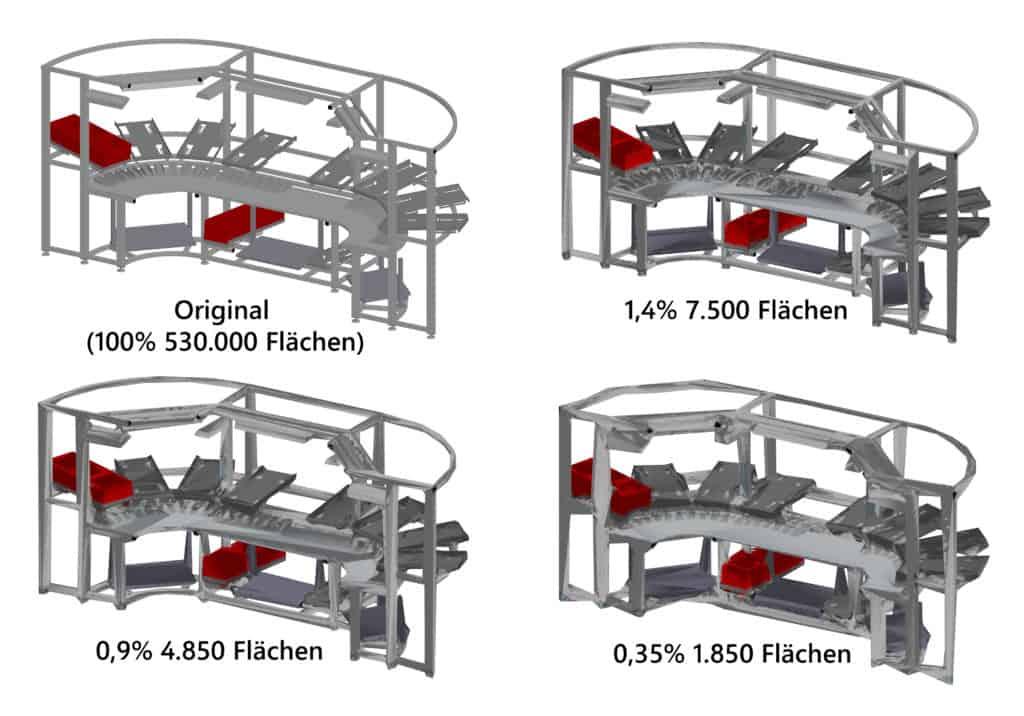 Beispiel automatische Vereinfachung von 3D komplexe CAD Daten eines Montagearbeitsplatzes