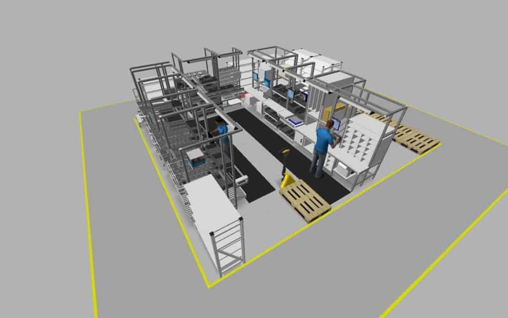 Beispiel eines 3D-Modell einer Montagezelle bei Endress+Hauser
