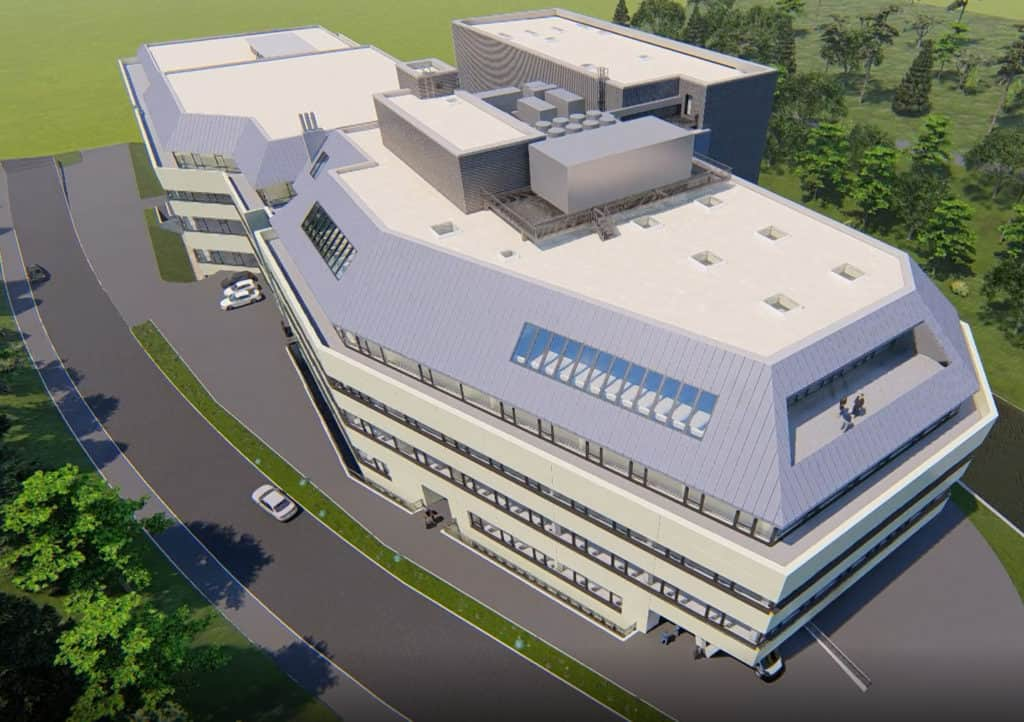 new planned building of production expansion as 3d visualization at VEGA Grieshaber