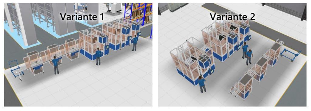 3D-Layoutvarianten einer Montagelinie in visTABLE®touch zur Nutzwertanalyse