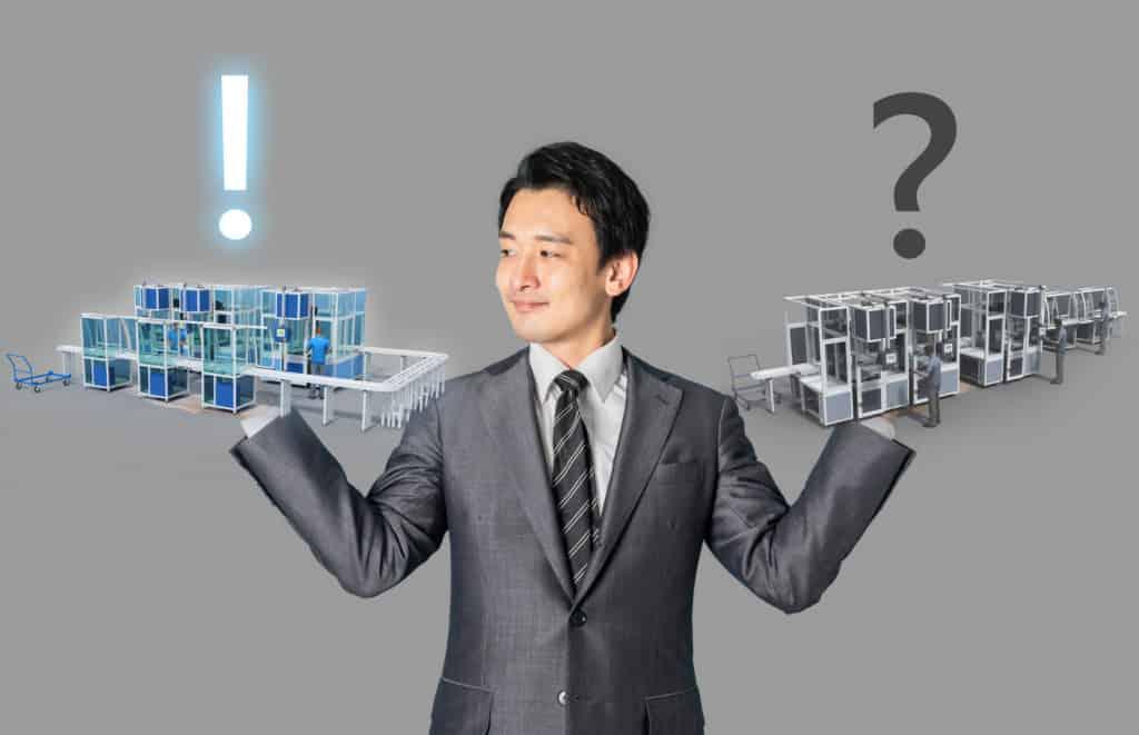 Planer vergleicht zwei 3D Layoutvarianten einer Montagelinie und entscheidet sich für die U-Form