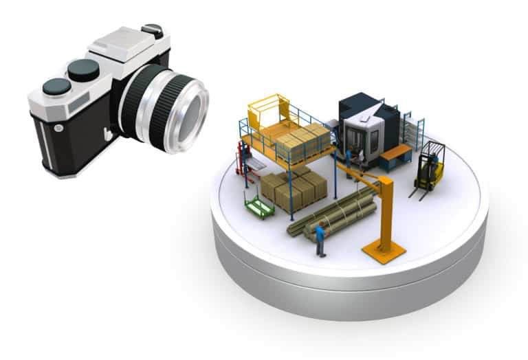 Illustration Metaphor of Idealized Photogrammetry in Factory Planning