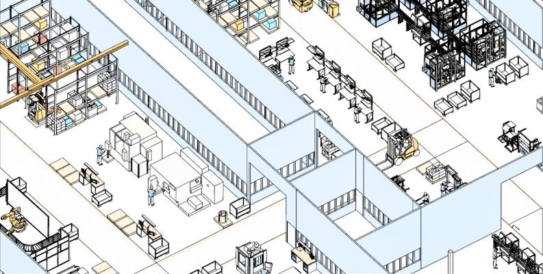 Liniendarstellung eines 3D-Fabriklayouts