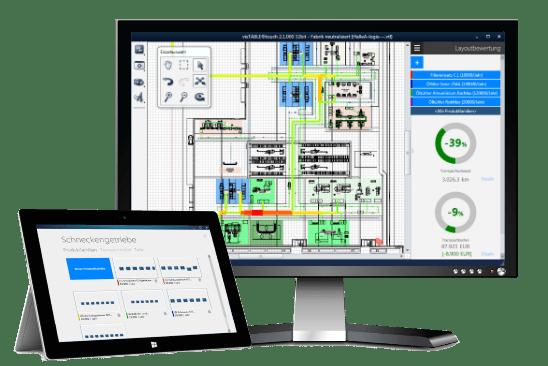 visTABLE® ist eine Standardsoftware zur Layoutplanung und Materialflussanalyse.