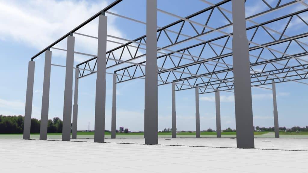 Rohbau und Stahlbau einer Werkhalle in Systembauweise
