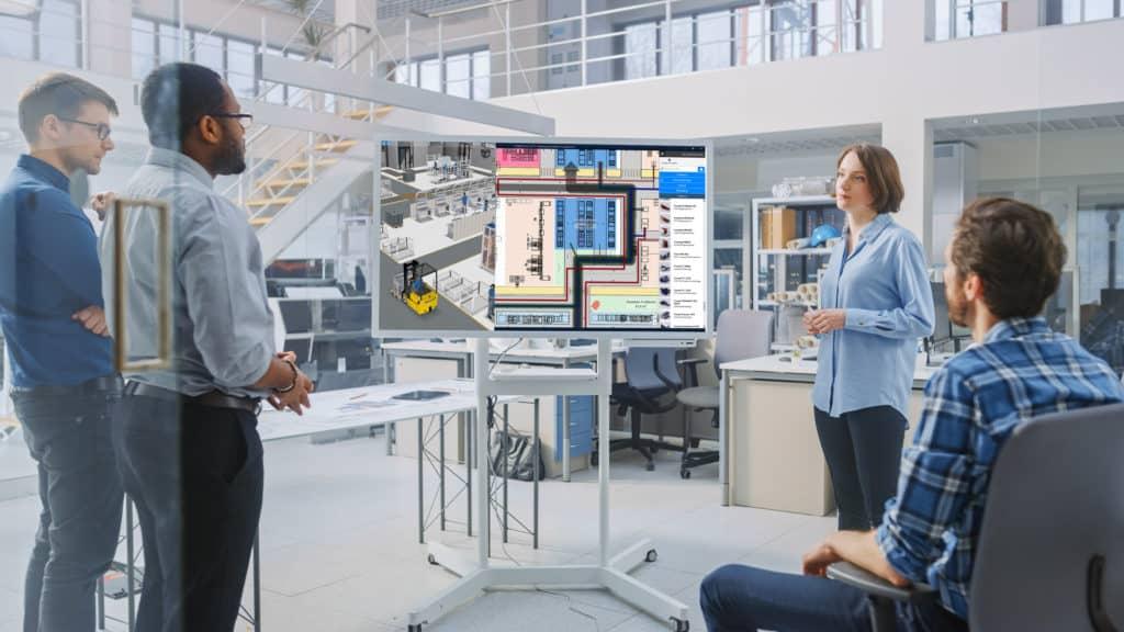 Teamplanung am 3D Fabriklayout auf einem Touchdisplay mit der Software visTABLE®touch