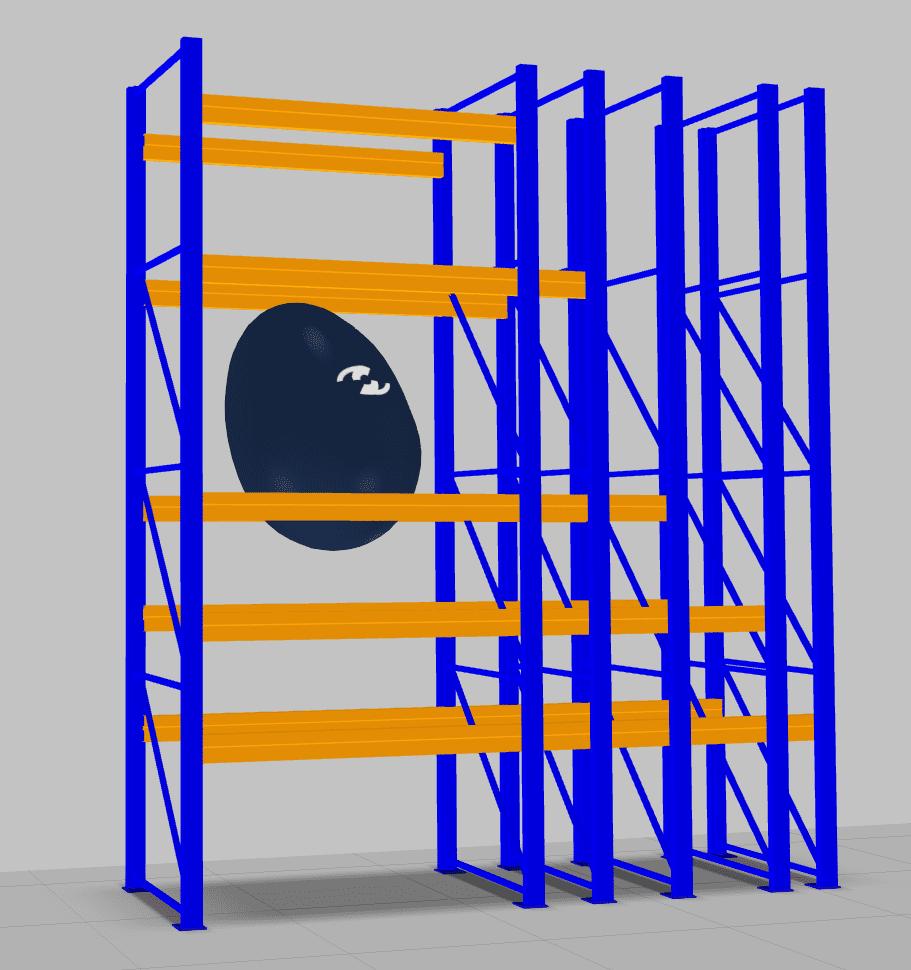 Der Regalbaukasten für Palettenregale erlaubt einen einfachen Entwurf solcher Lagersysteme. Aktuell probiert der Osterhase gerade die Stabilität der Holme aus ;)