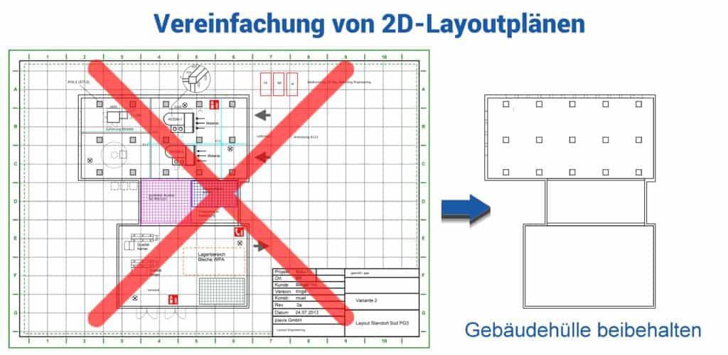 Beispiel der Vereinfachung einer 2D CAD Zeichnung von Ausrüstung für die Layoutplanung