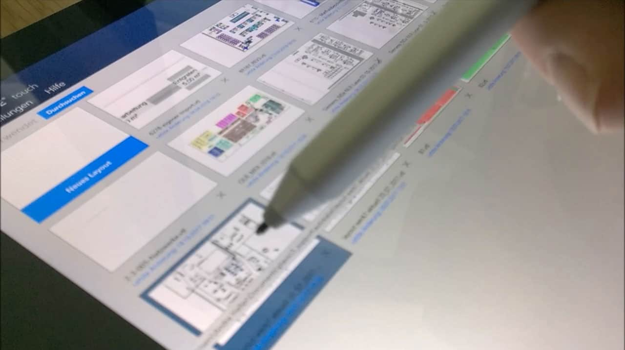 visTABLE®touch Layout selektieren mit Stift