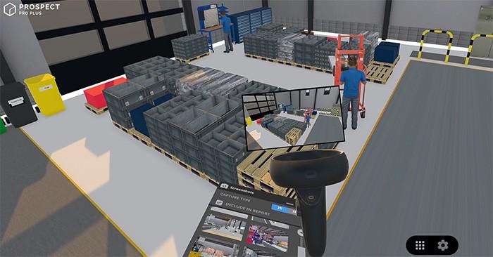 Fotografieren eines Lagerbereiches in VR für den automatisch generierten Bericht
